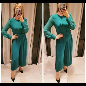 NWT Zara teal green pleated jumpsuit
